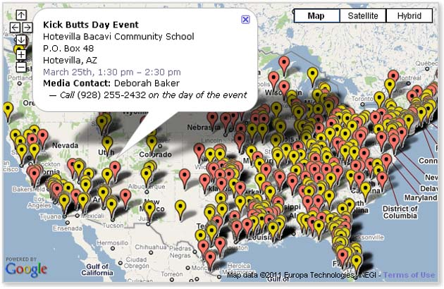 Kick Butts Day Events on the Map