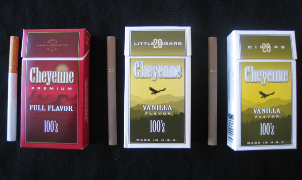 "Image of three packs of similarly-sized cigarettes, two of which are marketed as ""cigars"""
