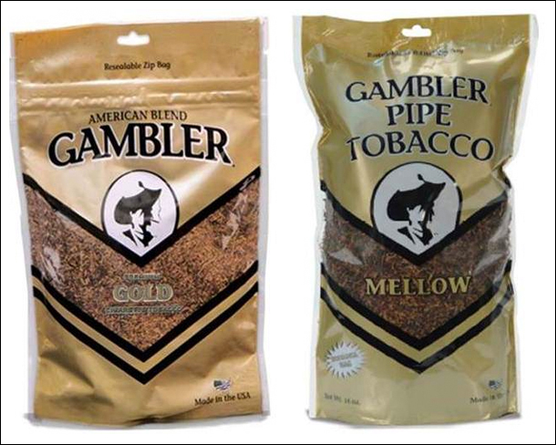 Image of two bags of loose tobacco, side-by-side.